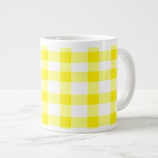 黄色いギンガム ジャンボコーヒーマグカップ
