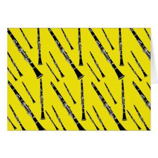 黄色いクラリネットパターン グリーティングカード