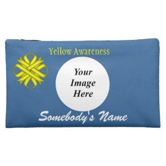黄色いクローバーのリボンのテンプレート コスメティックバッグ