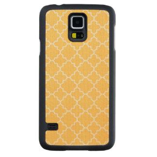 黄色いクローバーパターン CarvedメープルGalaxy S5スリムケース