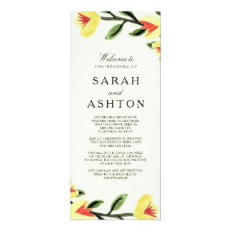 黄色いケシの結婚式プログラム カード