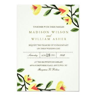黄色いケシの結婚式招待状 カード