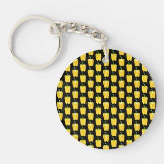黄色いコショウパターン。 黒 キーホルダー