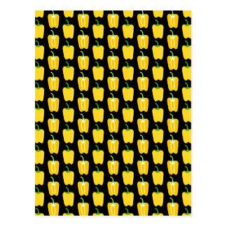 黄色いコショウパターン。 黒 ポストカード