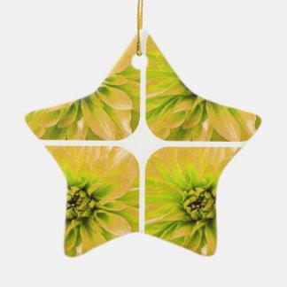 黄色いコラージュのダリアの花模様 陶器製星型オーナメント