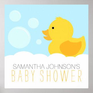 黄色いゴム製ダッキーの泡風呂のベビーシャワー ポスター