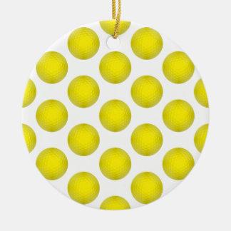 黄色いゴルフ・ボールパターン セラミックオーナメント