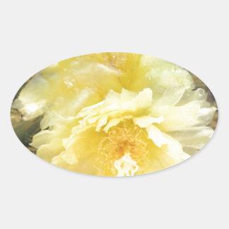 黄色いサボテンの花 楕円形シール