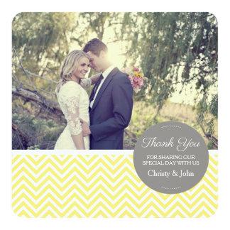 黄色いシェブロンの結婚式のサンキューカード カード