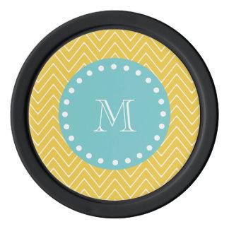 黄色いシェブロンパターン|ティール(緑がかった色)のモノグラム ポーカーチップ