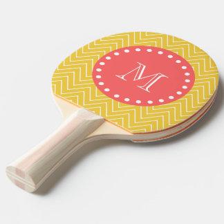 黄色いシェブロンパターン|珊瑚のモノグラム 卓球ラケット
