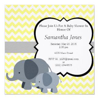 黄色いシェブロン象の男の赤ちゃんのシャワーの招待状 カード