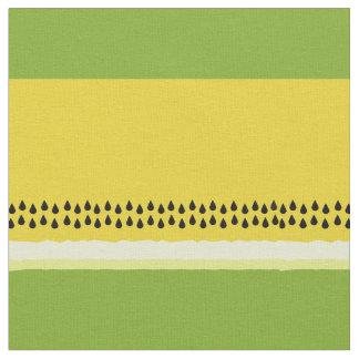 黄色いスイカの切れの名前入りな生地 ファブリック