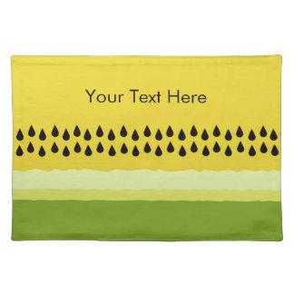 黄色いスイカの切れの布のランチョンマット ランチョンマット