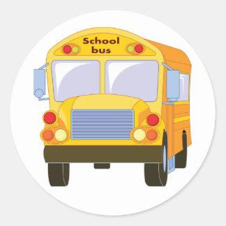 黄色いスクールバスのステッカー ラウンドシール