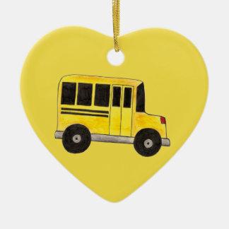 黄色いスクールバスの運転者の先生の教育のギフト セラミックオーナメント