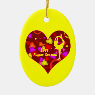 黄色いスケート選手の装飾の楕円形ハート セラミックオーナメント