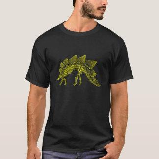 黄色いステゴサウルスの恐竜の骨組 Tシャツ