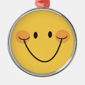 黄色いスマイリーフェイスの円形のオーナメント シルバーカラー丸型オーナメント
