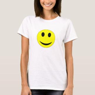 黄色いスマイリーフェイスの女性のTシャツ Tシャツ