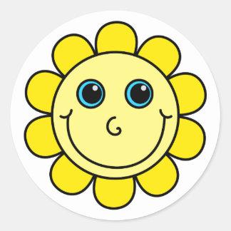 黄色いスマイリーフェイスの花 ラウンドシール