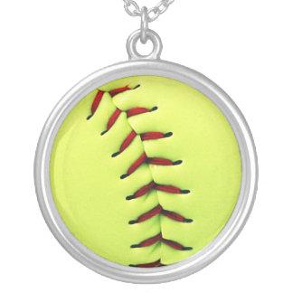 黄色いソフトボールの球 シルバープレートネックレス