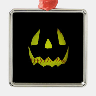 黄色いソフトボールジャックO'Lanternは直面します シルバーカラー正方形オーナメント