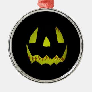 黄色いソフトボールジャックO'Lanternは直面します メタルオーナメント