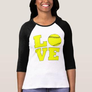 黄色いソフトボール愛女性のワイシャツ Tシャツ
