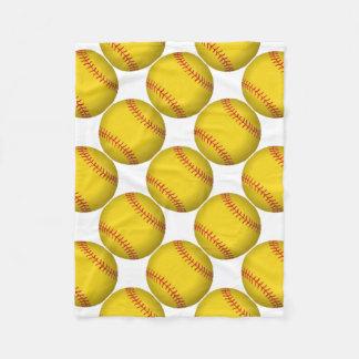 黄色いソフトボール フリースブランケット