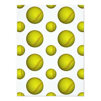 黄色いソフトボール/野球パターン 14 X 19.1 インビテーションカード