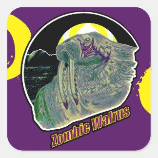 黄色いゾンビのセイウチか紫色の紫色 スクエアシール