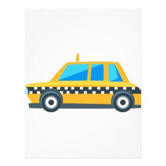 黄色いタクシーのおもちゃかわいい車アイコン。 平らなベクトル レターヘッド