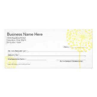 黄色いタンポポの花のギフト券のデザイン3 ラックカード