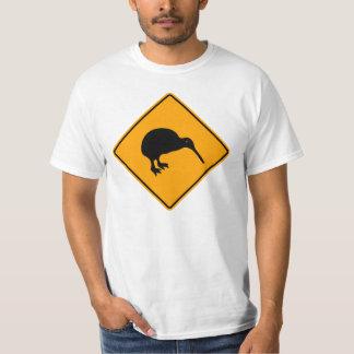 黄色いダイヤモンドの印を警告するニュージーランドのキーウィアイコン Tシャツ
