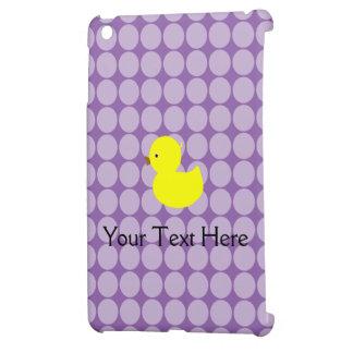 黄色いダッキーおよび紫色の水玉模様 iPad MINIケース