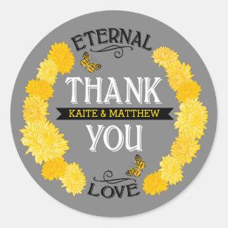 黄色いダリアのリースのモダンな花柄はラベル感謝していしています ラウンドシール