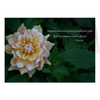 黄色いダリアの花の花の幸福の引用文 カード