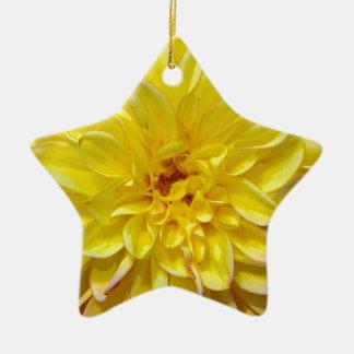 黄色いダリアの花の花 陶器製星型オーナメント