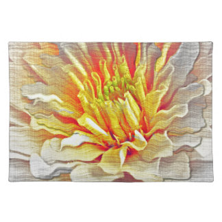 黄色いダリアの花の鉛筆のスケッチ ランチョンマット