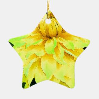 黄色いダリア 陶器製星型オーナメント