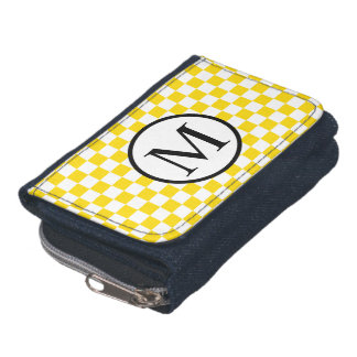 黄色いチェッカーボードが付いているシンプルなモノグラム ウォレット