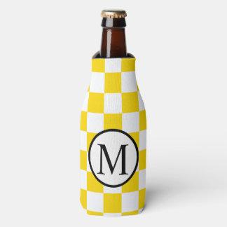 黄色いチェッカーボードが付いているシンプルなモノグラム ボトルクーラー