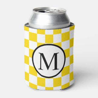 黄色いチェッカーボードが付いているシンプルなモノグラム 缶クーラー