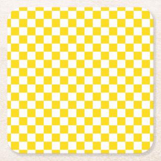 黄色いチェッカーボード スクエアペーパーコースター