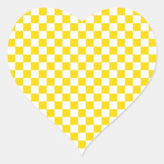 黄色いチェッカーボード ハートシール