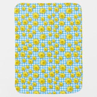 黄色いデイジーのターコイズの白のギンガム ベビー ブランケット