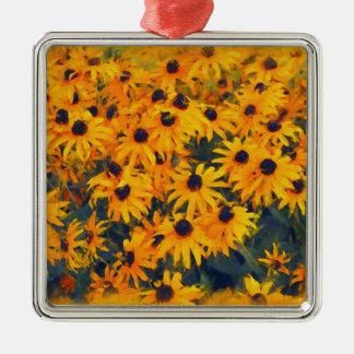 黄色いデイジーの花恋人の花柄の芸術 メタルオーナメント