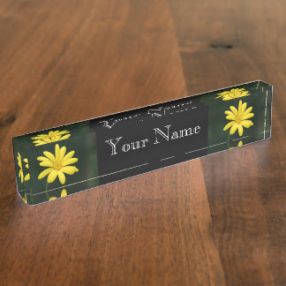 黄色いデイジーの花 デスクネームプレート