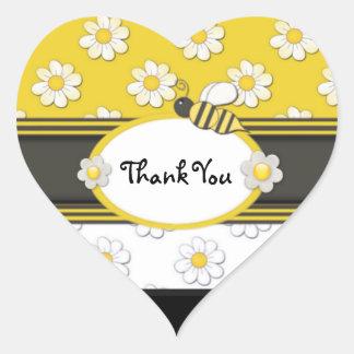 黄色いデイジーは感謝していしています ハートシール